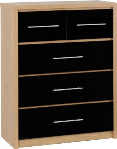 Seville 3+2 Drawer Chest BLACK